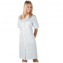 Blouse blanche laboratoire femme col V Isacco Michell 100% coton manches courtes