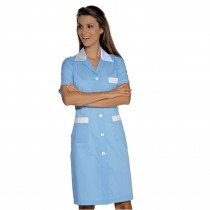 Blouse médicale femme Isacco Positano manches courtes Bleu/Blanc