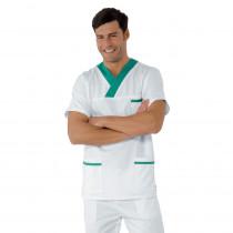 Tunique médicale unisexe Isacco blanche motifs verts