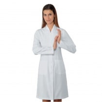 Blouse blanche médicale femme Isacco Lugano manches longues 100% coton
