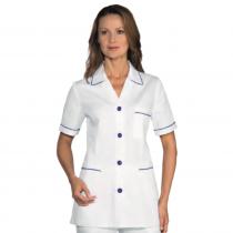 Blouse médicale femme bicolore Isacco manches courtes Blanc/Bleu