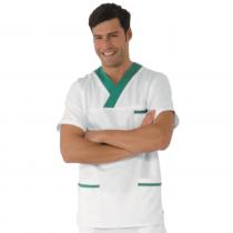 Blouse médicale unisexe Isacco manches courtes Blanc/Vert