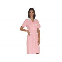 Tunique médicale femme Isacco manches courtes Rose/Blanc