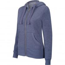 Sweat-shirt de travail zippé à capuche Kariban mélange femme Bleu Foncé