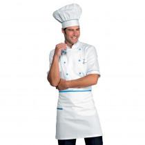 Veste de cuisine blanche motifs bleu ciel Isacco Alicante manches c...