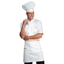 Veste de cuisine blanche liseré orange Isacco Alicante manches courtes