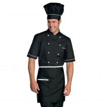 Veste de cuisine noir et blanche extra light Isacco manches courtes