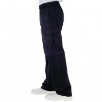 Pantalon de cuisine Isacco Pantachef noir rayures blanches 100% coton