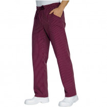 Pantalon de cuisine Bordeaux rayé Isacco 100% coton