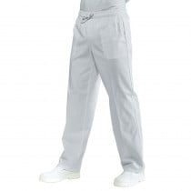 Pantalon de cuisine blanc Isacco 100% coton taille élastiquée