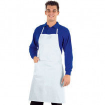 Tablier de cuisine professionnel blanc Isacco 100% coton