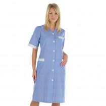 Blouse médicale femme col V Isacco Michelle bleu à rayures 100% cot...