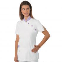 Blouse médicale femme Isacco manches courtes Blanc/Mauve
