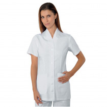 Blouse médicale blanche femme Isacco Calgary manches courtes