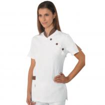 Blouse médicale femme Isacco manches courtes Blanc/Marron