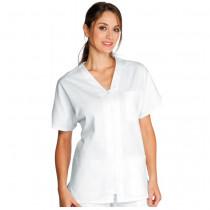 Tunique blanche médical Isacco Milano Unisexe 100% coton zip central femme