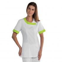 Tunique médicale blanche femme Isacco Delhi motifs verts