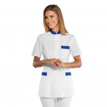 Tunique médicale femme Isacco Costa Rica Blanc vert manches courtes