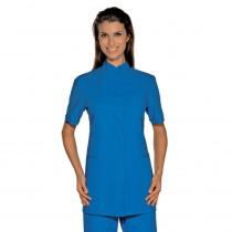 Blouse médicale femme Isacco Lione bleue manches courtes
