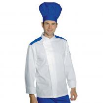 Veste de cuisine Blanche épaules bleues Isacco Malaga manches longues