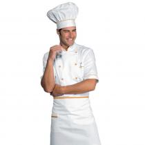 Veste de cuisine blanche et orange manches 1/2 Isacco