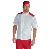 Veste de cuisine Blanche épaules rouges Isacco Malaga manches courtes