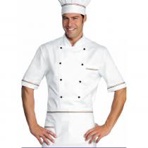 Veste de cuisine blanche avec drapeau Italien manches 1/2 Isacco
