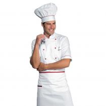 Veste de cuisine blanche et rouge manches 1/2 Isacco