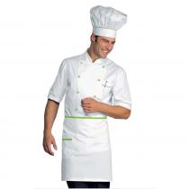 Veste de cuisine blanche et verte manches 1/2 Isacco
