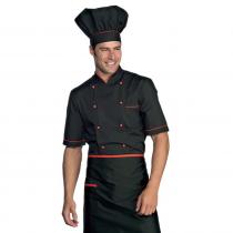 Veste de cuisine noir et rouge manches 1/2 Isacco