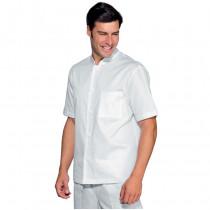 Veste de travail cuisine/médical blanche Isacco 100% coton manches courtes