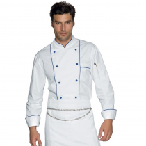 Veste de cuisine Blanc et bleu Profilata Isacco