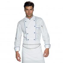 Veste de cuisine Blanc et bleu Isacco Blue Chef manches longues