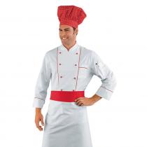Veste de cuisine Blanc et rouge Profilata Isacco