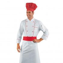 Veste de cuisine Blanche motifs rouge Isacco Red Chef