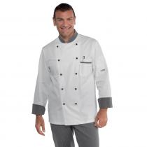 Veste de cuisine Blanche Isacco motifs Roller manches longues