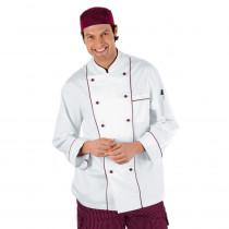 Veste de cuisine Blanche motifs Bordeaux Isacco Chef manches longues