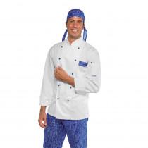 Veste de cuisine blanche à motifs Isacco Atlanta City manches longues