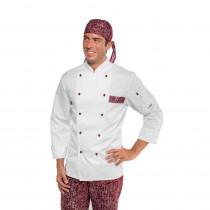 Veste de cuisine blanche à motifs City Bordeaux Isacco Atlanta manc...