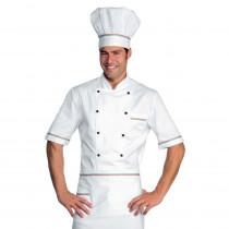 Veste de cuisine blanche liseré Italien Isacco Alicante manches cou...