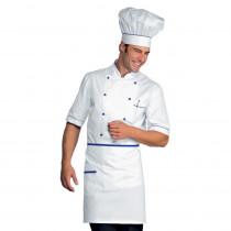 Veste de cuisine blanche à motifs bleus Isacco Alicante manches cou...