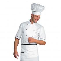 Veste de cuisine blanche liseré noir Isacco Alicante manches courtes