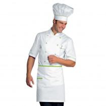 Veste de cuisine blanche liseré vert Isacco Alicante manches courtes