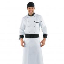 Veste de cuisine Blanche Isacco Cuoco motifs Vienna noir manches lo...