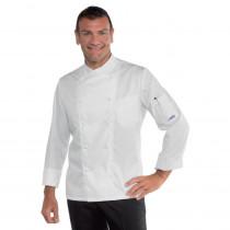 Veste de cuisine Blanche Isacco Panama Slim Coton Satin