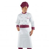Veste de cuisine Blanche Isacco Cuoco motifs Vienna Bordeaux manche...