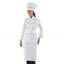 Veste de cuisine femme Isacco blanche liseré Italien