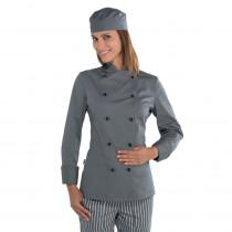 Veste de cuisine grise femme Isacco Lady Chef manches longues