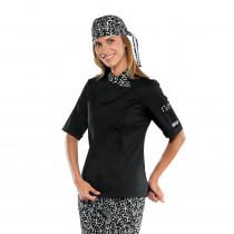 Veste de Cuisine Femme Isacco manches courtes Sushi Noire blanche