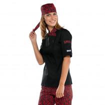 Veste de cuisine Femme Isacco manches courtes Sushi Noir rouge